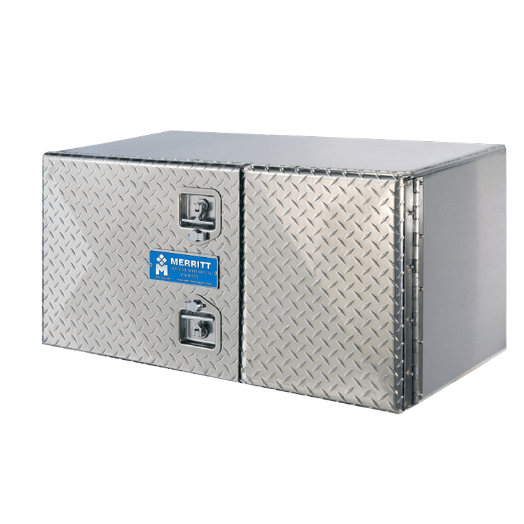 Diamond plate double-door toolbox