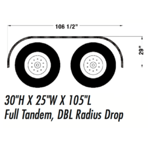 full tandem double radius drop fender, 106 1/2 inch by 29 inch