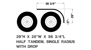 half tandem, single radius with drop fender, 56 3/4 by 5 inch by 29 inch